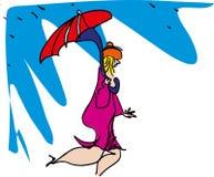 有伞的妇女在毛毛雨 免版税库存图片