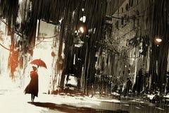 有伞的孤独的妇女在被放弃的城市 库存例证