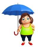 有伞的孩子女孩 库存图片