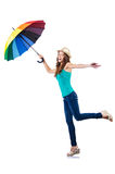 有伞的少妇 免版税库存图片