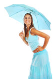 有伞的少妇 免版税库存照片