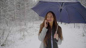 有伞的年轻美丽的妇女谈话在她的在多雪的背景的手机在一个冬天走户外 股票录像
