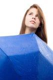 有伞的愉快的女孩 免版税库存图片