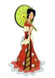 有伞的日本妇女 库存图片