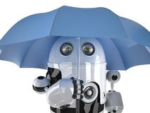 有伞的机器人 概念查出的技术白色 包含裁减路线 免版税库存照片