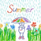 有伞的滑稽的人 五颜六色的花,绿草,雨 库存例证