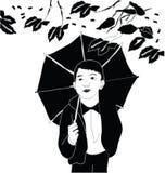 有伞的男孩 免版税库存照片