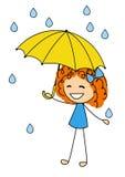 有伞的逗人喜爱的小女孩 图库摄影