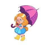有伞的逗人喜爱的小女孩 向量例证