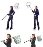 有传染性的网和时钟的妇女 免版税库存照片