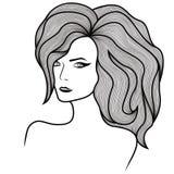 有传神眼睛和华美的头发的女孩 皇族释放例证