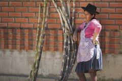有传统部族衣物和帽子的未认出的土产当地盖丘亚族人的妇女,在Tarabuco星期天市场上,玻利维亚 免版税图库摄影