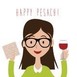 有传统发酵的硬面和酒的愉快的Pesach (逾越节)平的设计妇女 库存例证