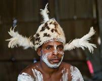有传统绘画和着色的画象Asmat战士在面孔 库存照片