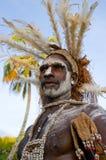 有传统绘画和着色的画象Asmat战士在面孔 免版税库存图片