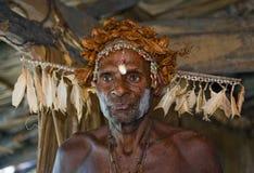 有传统绘画和着色的画象Asmat战士在面孔 免版税图库摄影