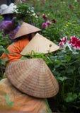 有传统圆锥形帽子的亚裔花匠照料植物学庭院 库存图片