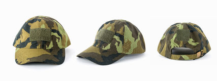 有伪装样式的盖帽在wtite背景 免版税库存图片