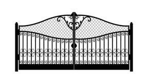 有伪造的装饰品的被成拱形的金属门在白色背景 美好的铁装饰品门 r 皇族释放例证