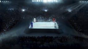 有体育场光的拳击场 免版税库存照片