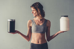 有体育营养的妇女 库存图片