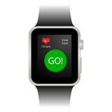 有体育跟踪仪的巧妙的手表 免版税库存照片