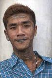 有佛教宗教纹身花刺的人从泰国 免版税库存图片