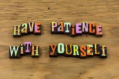 有你自己的耐心患者美德放松活版行情 免版税库存图片
