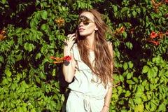 有佩带时髦回合的长的栗子头发的美丽的妇女反映了站立在弗吉尼亚爬行物树篱的太阳镜 库存图片