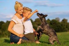 有使用与一条小狗的儿子的母亲 库存照片
