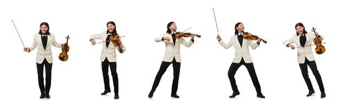 有使用在白色的小提琴的人 免版税库存图片