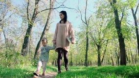 有使用在秋天公园的男婴的快乐的母亲 拿着她的男婴的美女户外 影视素材