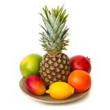 有使的热带水果惊奇板材 图库摄影
