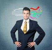 有例证的愉快的创造性的企业人 免版税库存照片