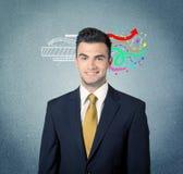 有例证的愉快的创造性的企业人 免版税图库摄影