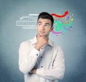 有例证的愉快的创造性的企业人 免版税库存图片