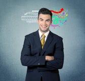 有例证的愉快的创造性的企业人 库存图片