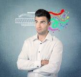 有例证的愉快的创造性的企业人 图库摄影