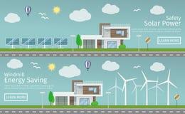 有供选择的Eco绿色能量的现代议院 图库摄影
