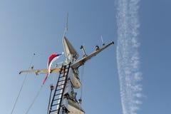 有俄国旗子的船 库存图片