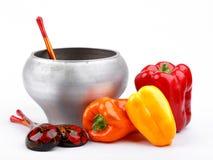 有俄国木匙子和杂色胡椒的生铁罐 库存照片