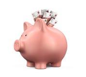 有俄罗斯卢布的存钱罐 免版税库存图片