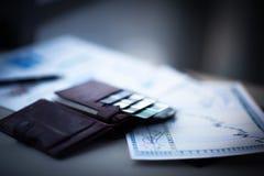 有信用和折扣卡片的皮革钱包 库存图片