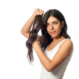 有假发的女孩 免版税库存照片