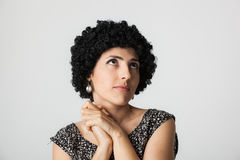 有假发的少妇 免版税库存图片