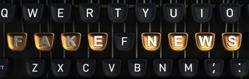 有假时事通讯的打字机在按钮上 3d翻译 图库摄影
