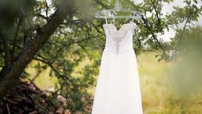有假钻石的豪华白色婚纱在一棵树垂悬在夏天 股票录像