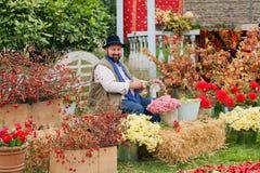 有做五颜六色的花花束的年长人的美丽的庭院在每年节日期间 免版税库存图片