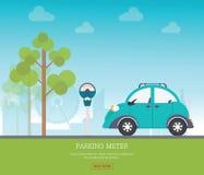有停车时间计时器的停车场在城市视图背景 免版税库存图片
