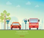 有停车时间计时器的停车场在城市视图背景 免版税库存照片